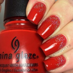 Red and gold nails photo