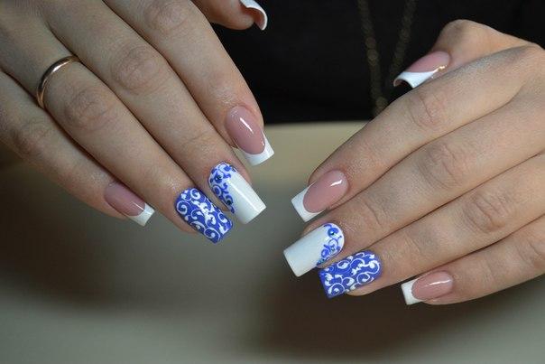 Сине голубой дизайн ногтей