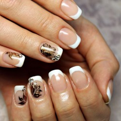 French manicure with gold photo