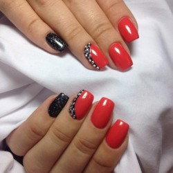 Red nails with silver photo
