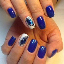 Peacock feather nail art photo