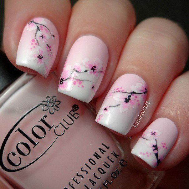 White and pink nails - Nail Art #352 - Best Nail Art Designs Gallery BestArtNails.com