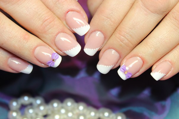 French nails with bows - The Best Images | BestArtNails.com