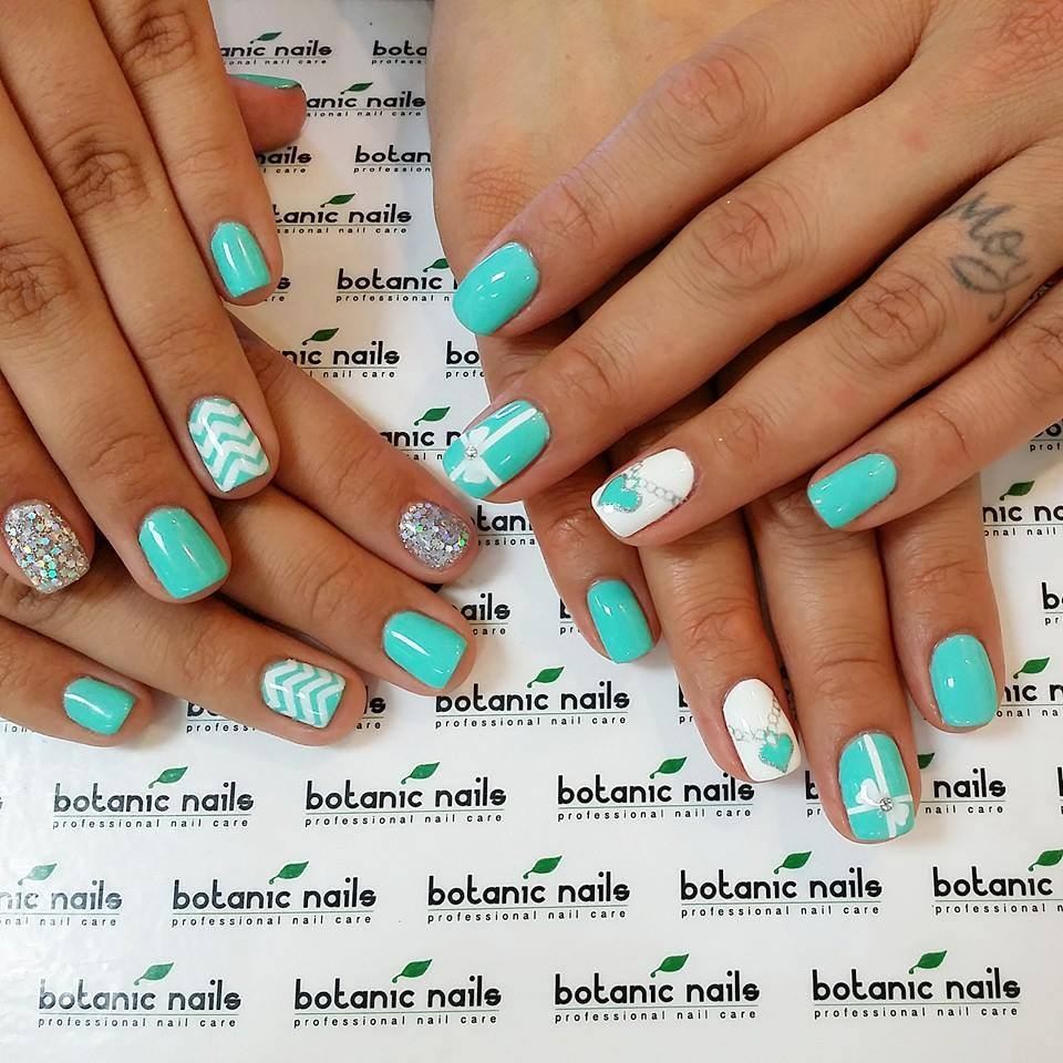 White and turquoise nails - Nail Art #431 - Best Nail Art Designs Gallery BestArtNails.com