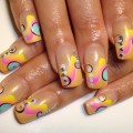 Multicolor french nails