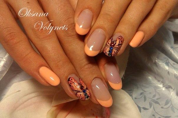 Дизайн ногтей оранжевый 4