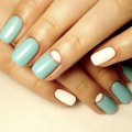 White-turquoise nails