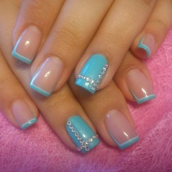 French nails with stones photo