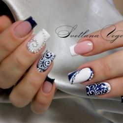 White and blue french manicure photo