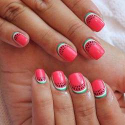 Red reverse french manicure