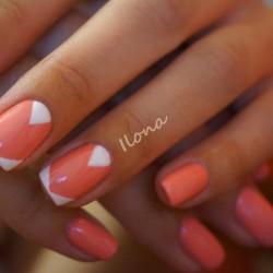 Nails under coral dress photo