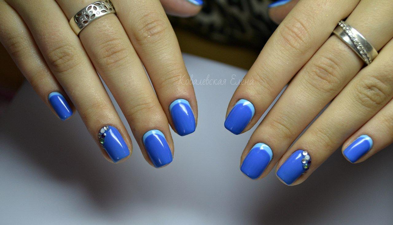Фото ногтей синий гель лак
