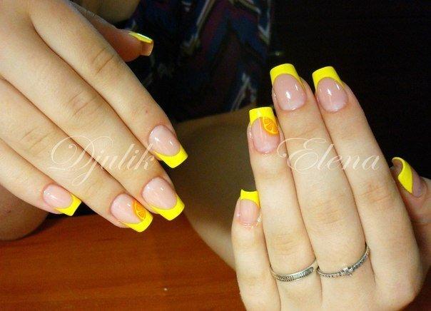 Свадебный маникюр с желтым цветом