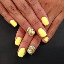 Bright yellow nails photo
