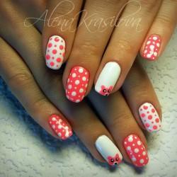 White polka dot nails photo