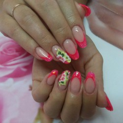 french manicure with a flower photo