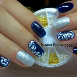 Blue And Silver Nails Photo