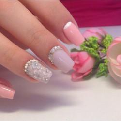 Pink half moon nails photo