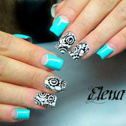Turquoise moon nails photo