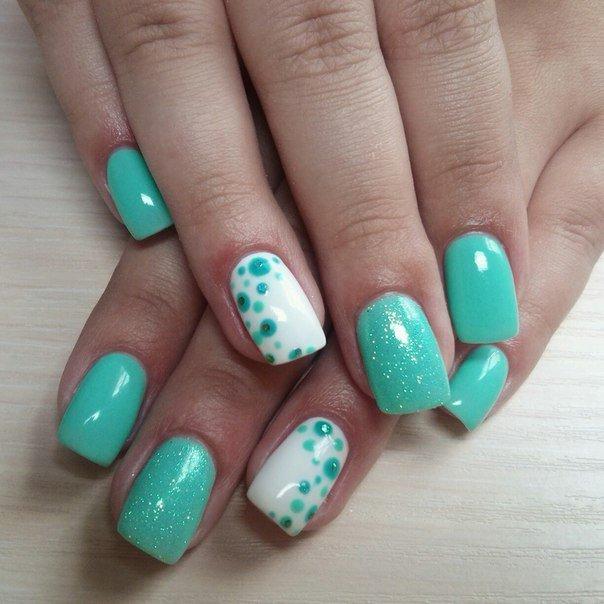 Гель лак фото ногтей дизайн мятный цвет