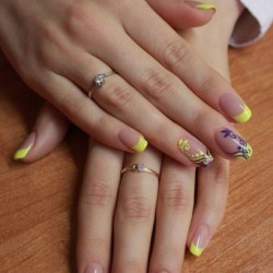 Yellow french manicure photo