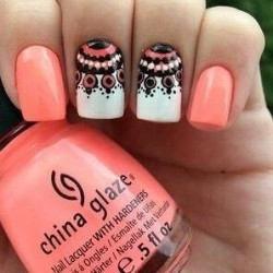 Coral and white nails photo