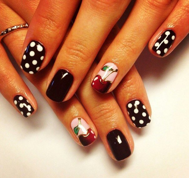 Фото дизайн ногтей с вишнями