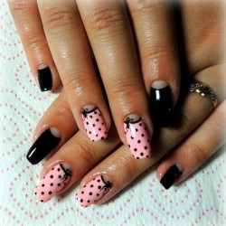 Half moon black nails photo