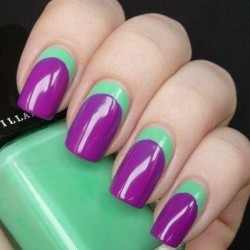 Turquoise and purple nails photo