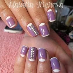 Shellac half moon nails photo