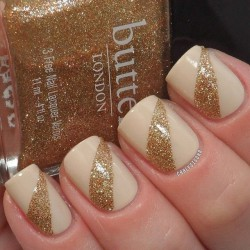 Nails with golden glitter photo