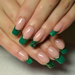Dark green french manicure photo