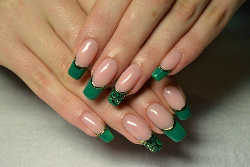 Дизайн в зеленом цвете ногти