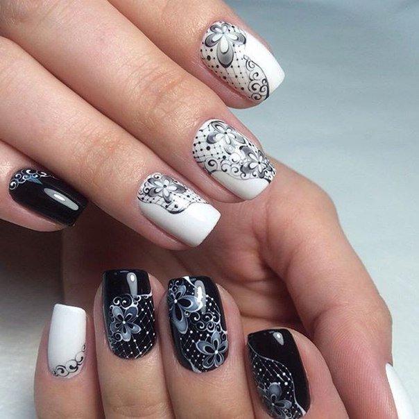 Черно белые дизайн ногтей 2017-2018