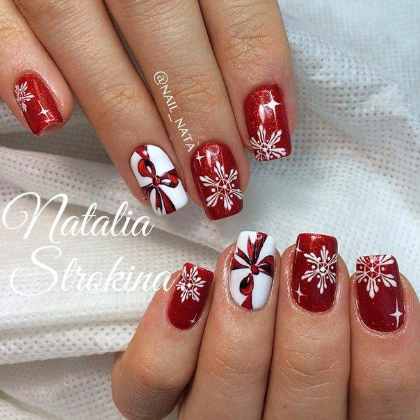 Новогодние ногти шеллак дизайн