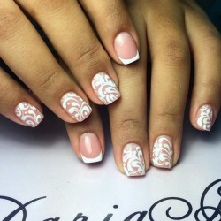 Wedding French Manicure Photo Nail Art 1425