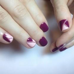Pink and vinous nails photo