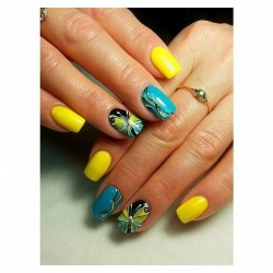 Yellow gel polish photo