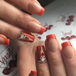 Red french manicure photo