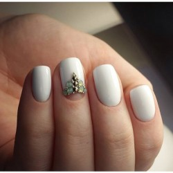 White half moon on nails photo
