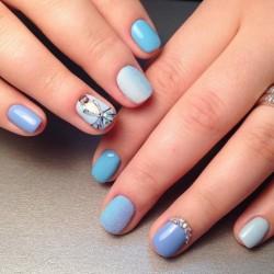 Blue lacquer nails photo