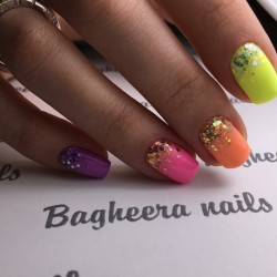 Colorful gel polish nails photo