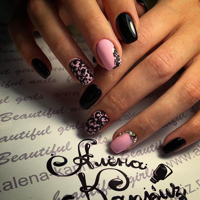 Фото ногти черные с розовым