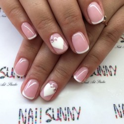 French manicure with heart photo