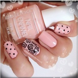 Pink polka dot nails photo