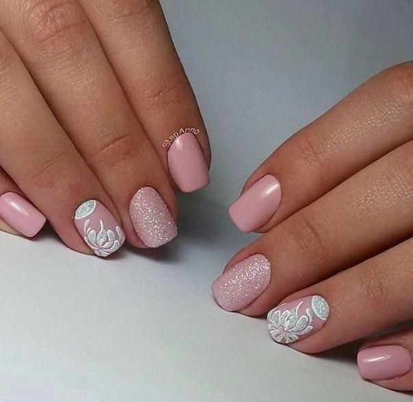 Light Pink Nails With Black Design