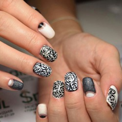 Beige half moon nails photo