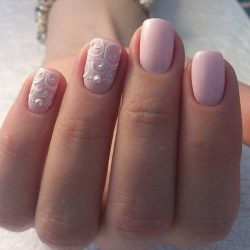 Pink nails with patterns photo