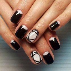 Half moon patterned nails photo