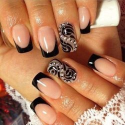 French nails with rhinestones photo